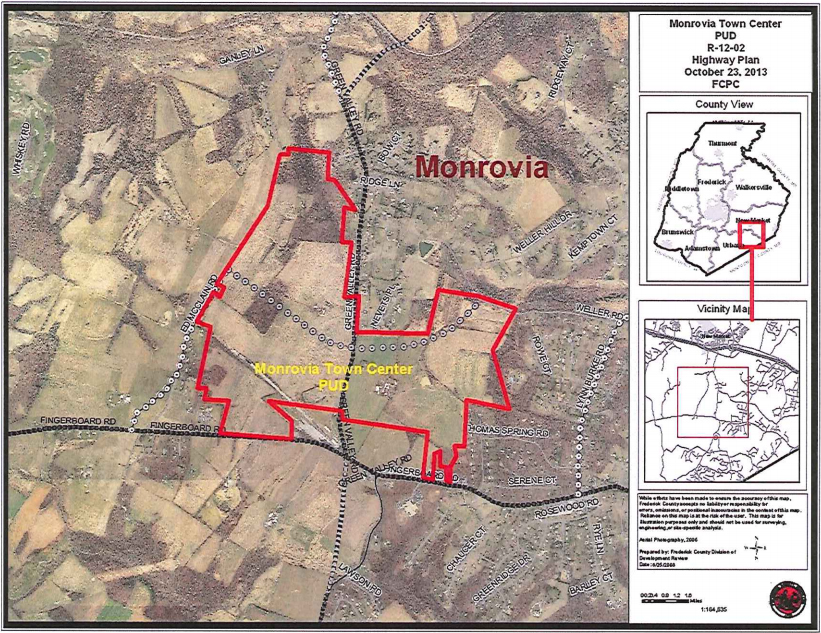 Location and extent of the proposed Monrovia Town Center. Click on the image to open a larger version.