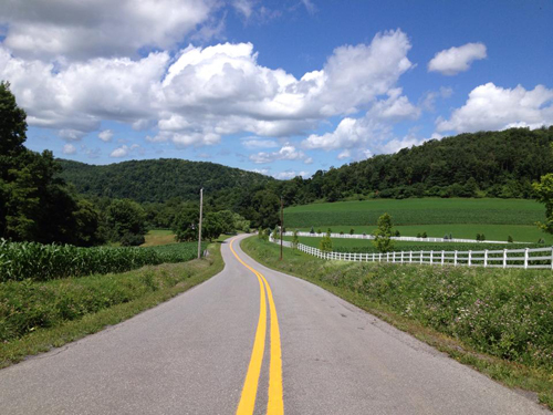 A winding road in unfracked Garrett County. An Associated Press analysis found that traffic fatalities had increased more than fourfold since 2004 in states with fracking. http://bit.ly/1ux9415 //photo by Crede Calhoun