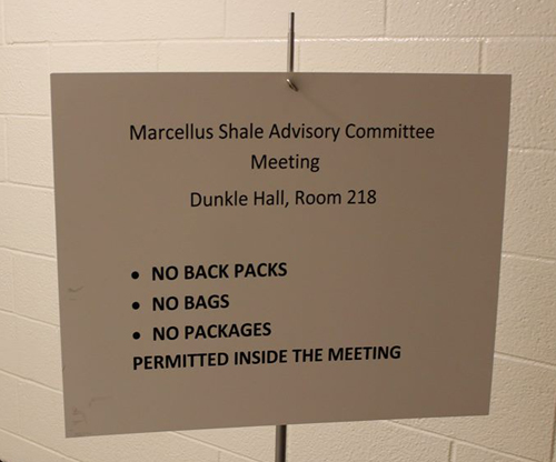 A new sign outside the state's monthly Marcellus shale advisory commission meeting // photo by Savage Mountain Earth First