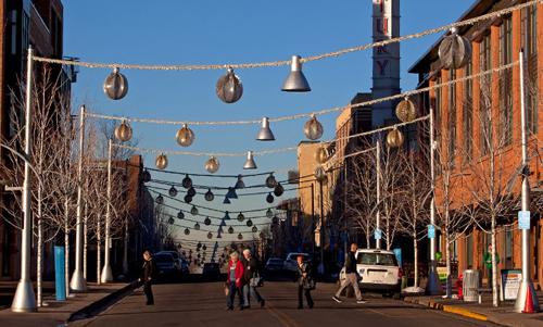 A street in Belmar, Colorado, a suburban vibrant center.