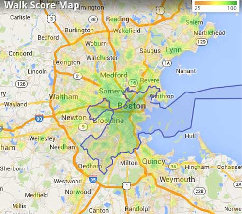 The green parts of the Boston region are walkable: System A. The rest are System B.