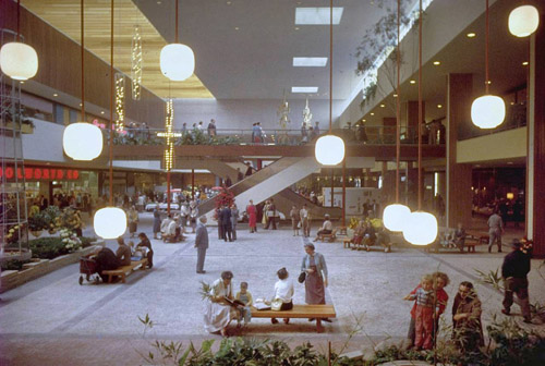 A 1956 photograph of shopping mall pioneer Victor Gruen's Southdale Mall (Life Magazine)