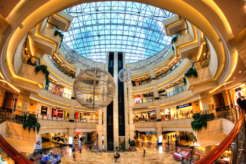 The traditional, indoor shopping mall is known for its soaring atrium and sprawling floor plan.