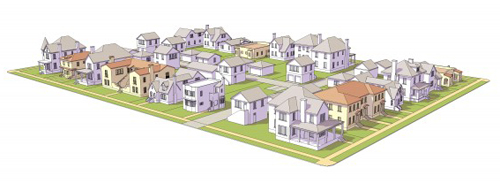Distributed throughout a block with single-family homes