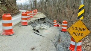 The onslaught of fracking trucks create crumbling infrastructure (photo credit to Doddridge County Watershed Association)