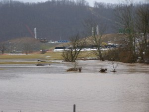 For some reason, some powers that be think it's okay to build fracking operations on or near flood plains.