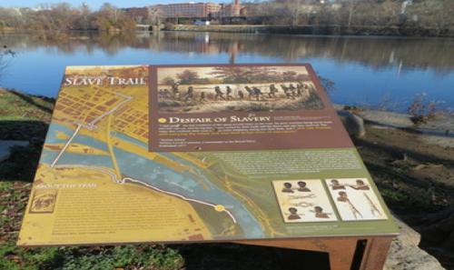 Interpretive marker along the James River in downtown Richmond