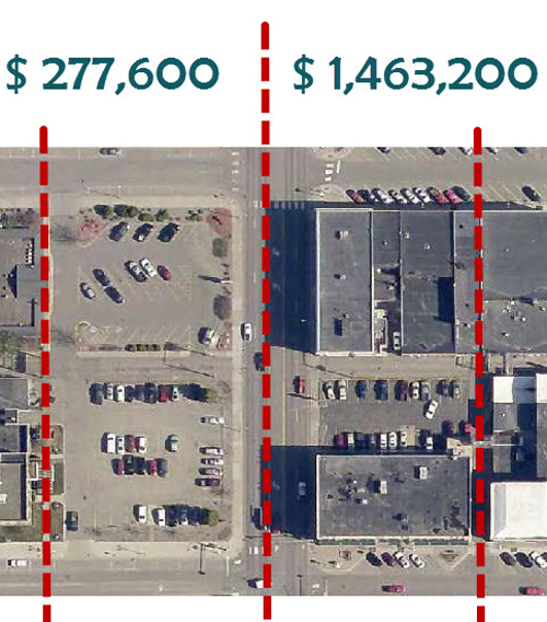 The value of each side of South 6th St. in downtown Brainerd, MN.