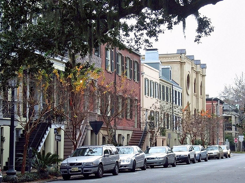 Basement apartments line this street in Savannah (courtesy of Payton Chung)