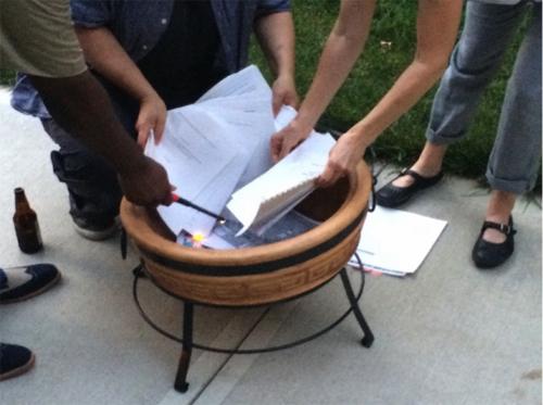 Residents Burn Old Neighborhood Plans in Kansas City in 2015 (by Jason Parson)