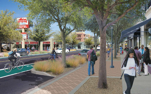 Van Buren transformed, by Steve Price of Urban Advantage, for Reinvent Phoenix. Concepts for the street retrofit were via Duany Plater-Zyberk and Crabtree Group.