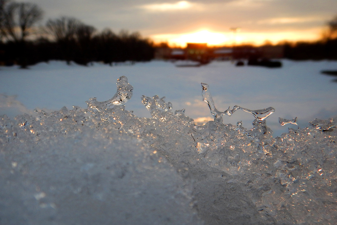 Miniature ice sculptures catch the sun's early rays on a snow pile near Weis Market. (January 31, 2016)