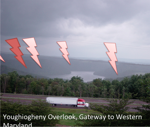 This is the scenic Youghiogheny Overlook into Garrett County from West Virginia. The lightning bolts note where possible fracking wells and compressor stations could be installed if fracking is legalized in Maryland. The Youghiogheny river runs through the town of Friendsville, where Kim lives on her farm.